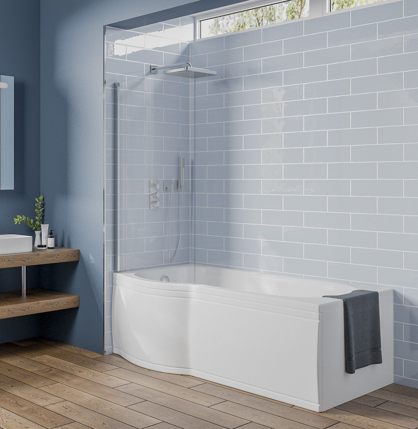 Photo of a bathroom with a bath that uses 'Simply No Slip'